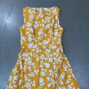 Anna Klein Floral Yellow Dress, Size 6